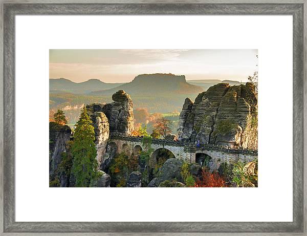 Autumn Afternoon On The Bastei Bridge Framed Print