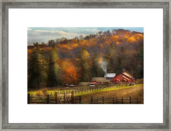 Autumn - Barn - The End Of A Season Framed Print