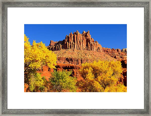 Autumn Beneath The Castle Framed Print