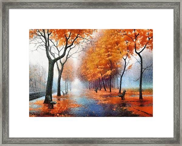 Autumn Boulevard Framed Print