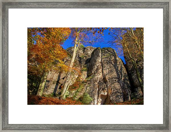 Autumn Colors In The Saxon Switzerland Framed Print