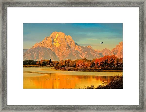 Autumn Dawn At Oxbow Bend Framed Print