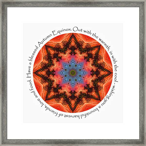 Framed Print featuring the digital art Autumn Equinox Mandala by Beth Sawickie