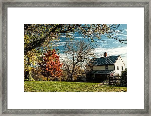 Autumn Farm House Framed Print