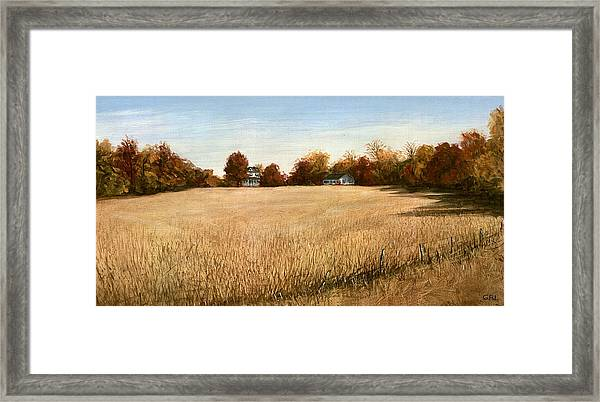 Framed Print featuring the painting Autumn Field Southern Maryland by G Linsenmayer