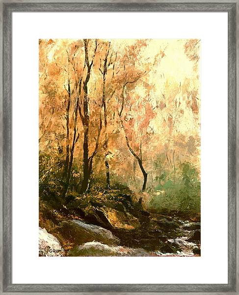 Framed Print featuring the painting Autumn Forest Baltimore Maryland by G Linsenmayer