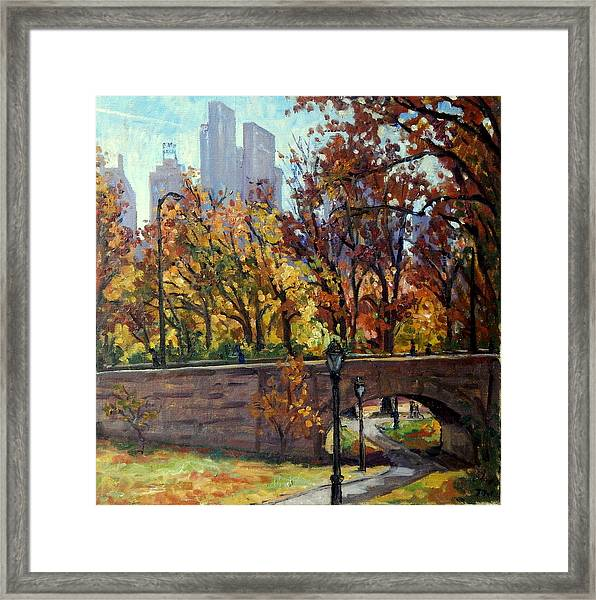 Autumn In Central Park Nyc.  Framed Print