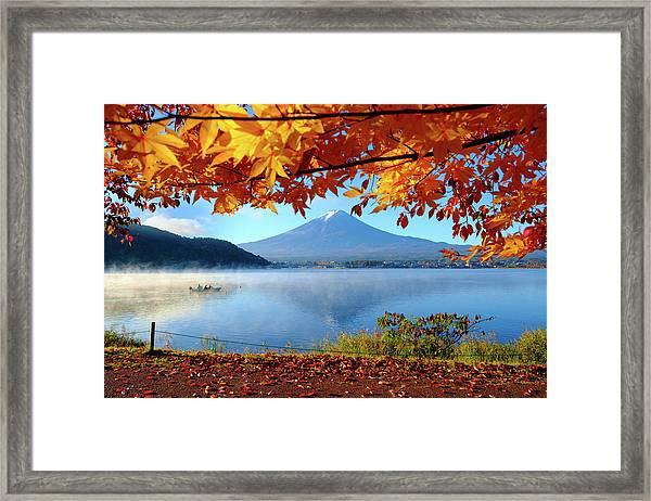Autumn Kawaguchiko Lake And Mt.fuji Framed Print by Dewpixs Photography