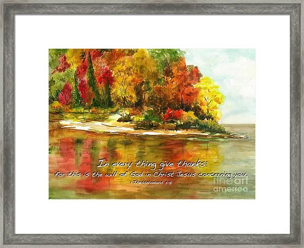 Autumn Lake 1 Thessalonians 5  Framed Print