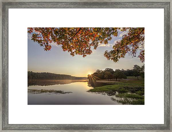 Autumn Lake Sunrise In East Texas Framed Print