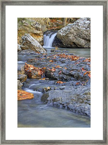 Autumn Leaves At Little Missouri Falls - Arkansas - Waterfall Framed Print