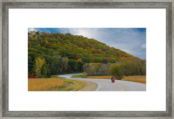 Framed Print featuring the photograph Autumn Motorcycle Rider / Orange by Patti Deters