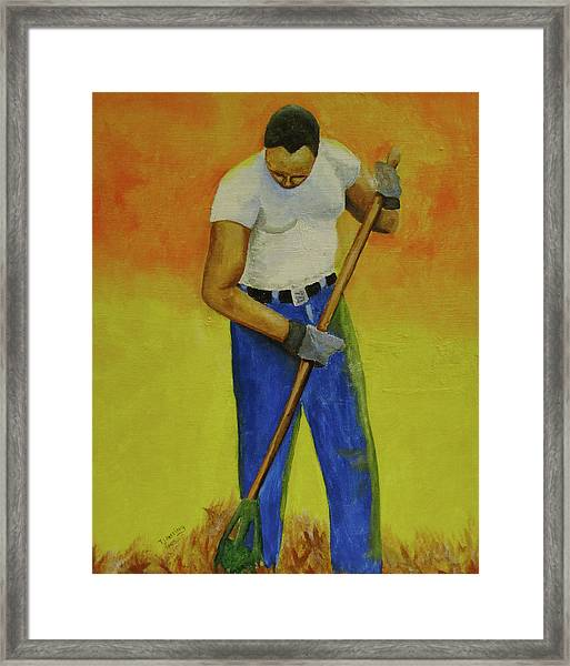 Autumn Raking Framed Print