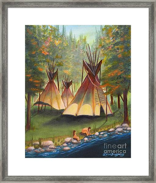 Autumn River Camp Framed Print