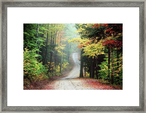 Autumn Road In Rural New Hampshire Framed Print