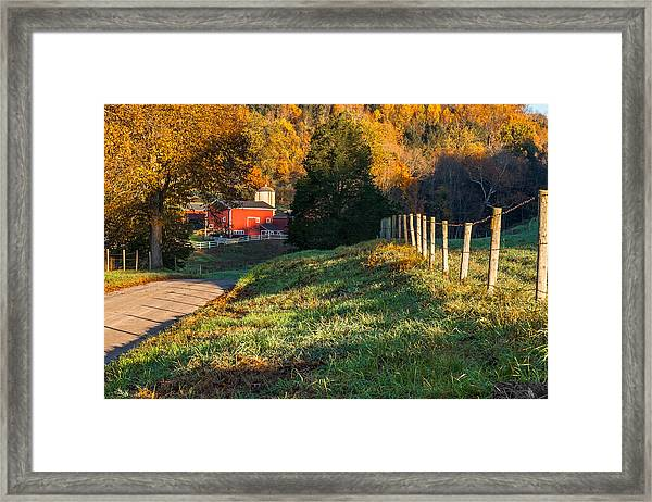 Autumn Road Morning Framed Print