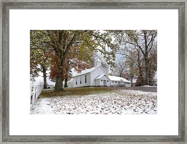 Autumn Snow And Country Church Framed Print