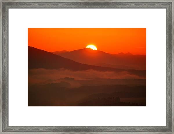 Autumn Sunrise On The Lilienstein Framed Print