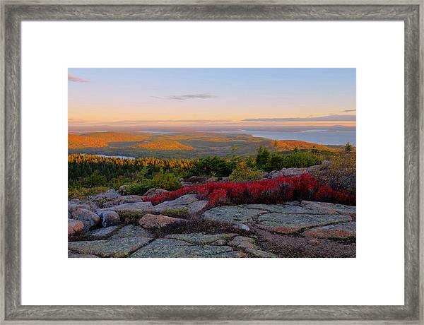 Cadillac Mountain Autumn Sunrise Framed Print by Stephen  Vecchiotti