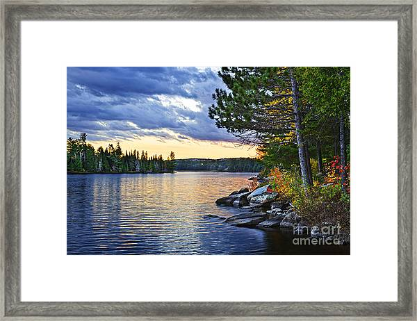 Autumn Sunset At Lake Framed Print