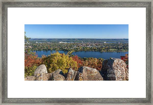 Framed Print featuring the photograph Autumn View From Garvin Heights by Kari Yearous
