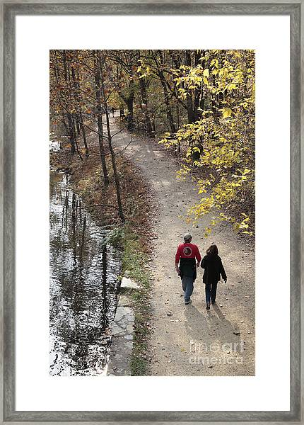 Autumn Walk On The C And O Canal Towpath Framed Print