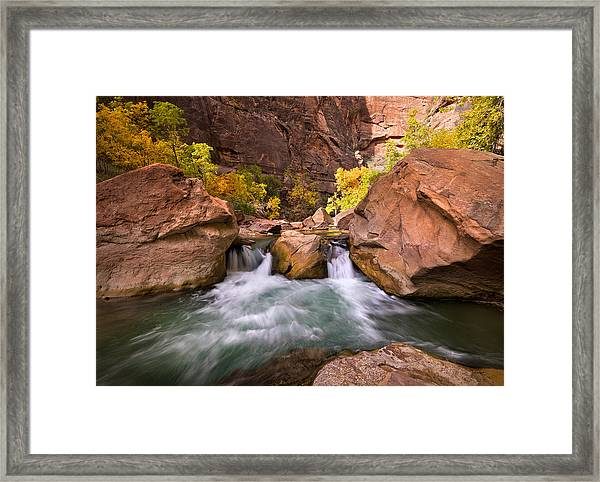 Autumn Waterfall In Zion Framed Print