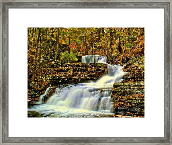 Autumn By The Waterfall Framed Print