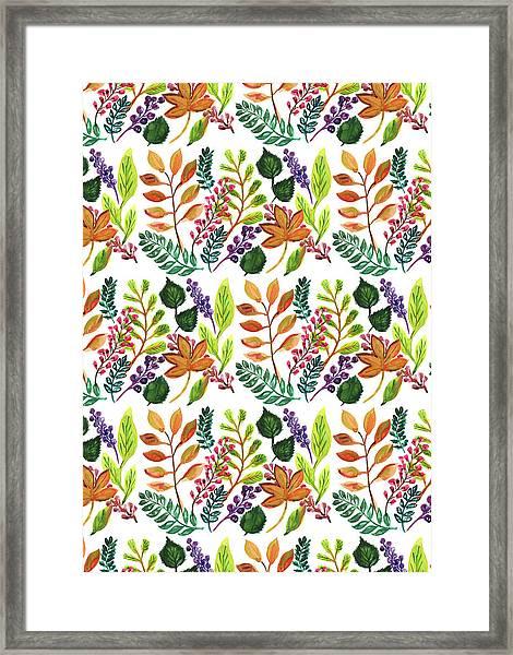 Autumnal Print Multi Leaves And Berries Mixed.jpg Framed Print