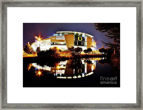 Autzen At Night Framed Print