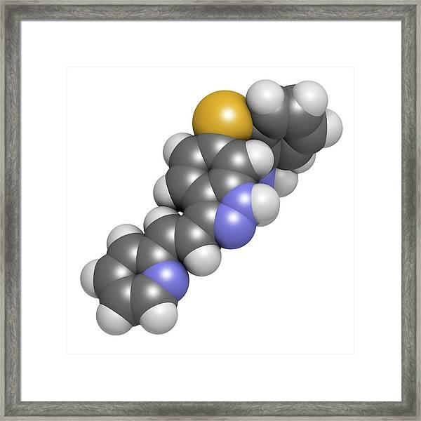 Axitinib Cancer Drug Molecule Framed Print by Molekuul