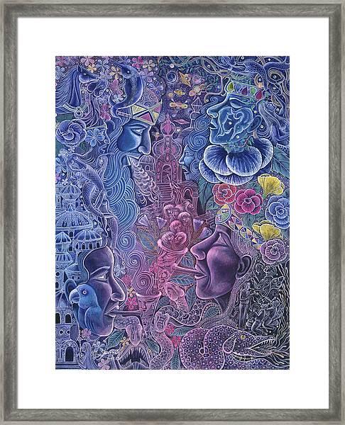 Framed Print featuring the painting Ayari Warmi by Pablo Amaringo