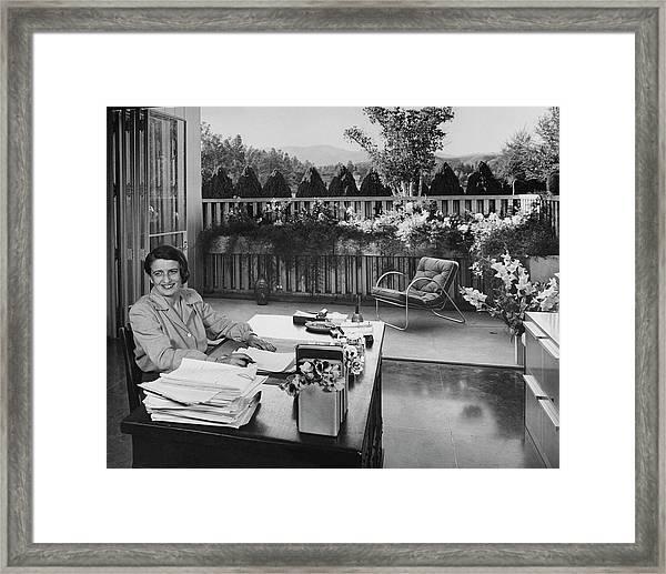 Ayn Rand At Her Desk Framed Print