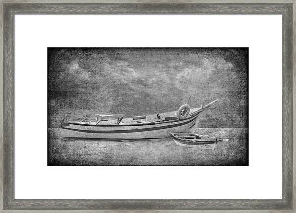 Azorean Fishing Boats B/w Framed Print