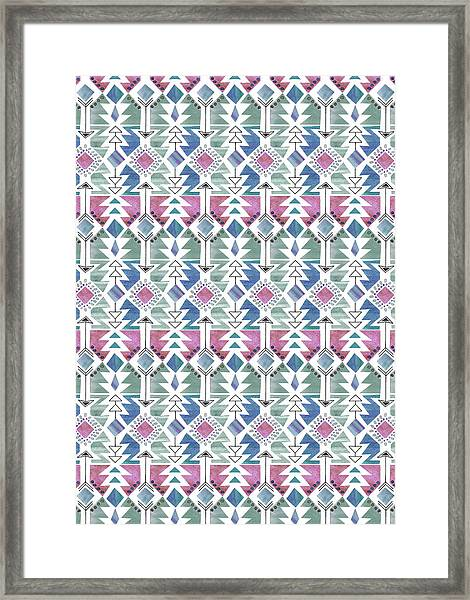 Aztec Inspired Arrow And Geometric Pattern One_colour 2.jpg Framed Print