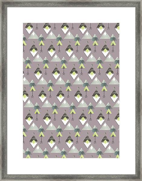 Aztec Inspired Collage Geometric Mountain Pattern.jpg Framed Print