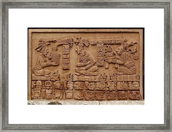 Aztec Woodcarving Tablets Framed Print