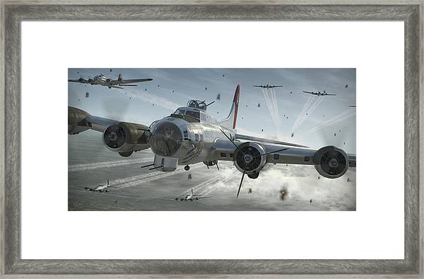 B-17g Hikin' For Home Framed Print by Robert Perry