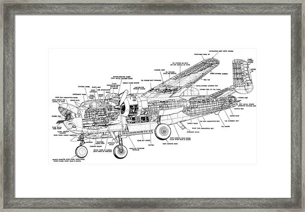 B25 Mitchell Schematic Diagram Framed Print by John King