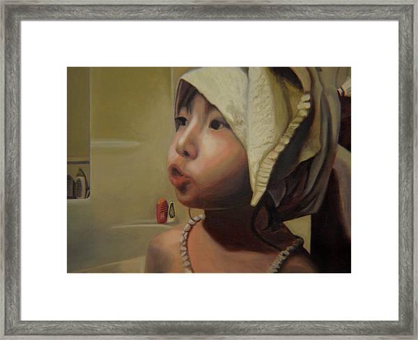 Baby Bath Mama Framed Print