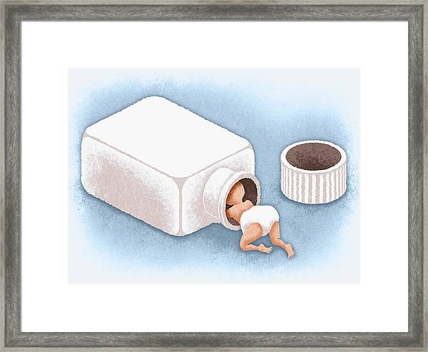 Baby Crawling Into Open Bottle Framed Print