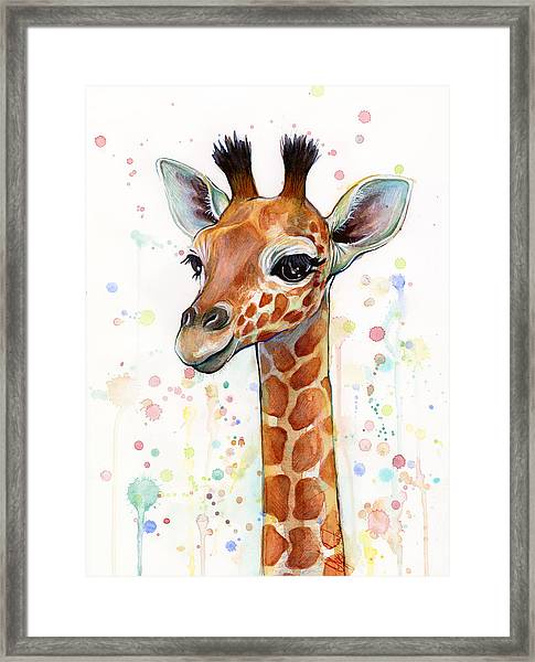 Baby Giraffe Watercolor  Framed Print