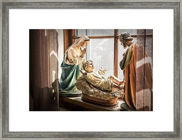 Baby Jesus Welcoming A New Day Framed Print