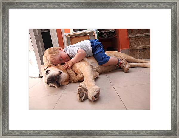Baby On A Dog, Cares About Dog Framed Print by Aitor Diago