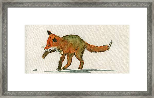 Baby Red Fox Playing Framed Print