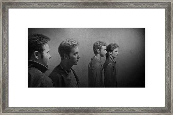 Back Stage With Nsync Bw Framed Print
