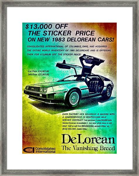 Back To The Delorean Framed Print