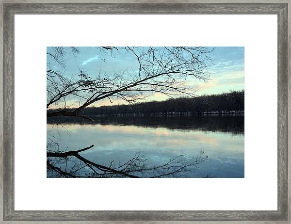 Backlit Skies On The Potomac River Framed Print by Bill Helman