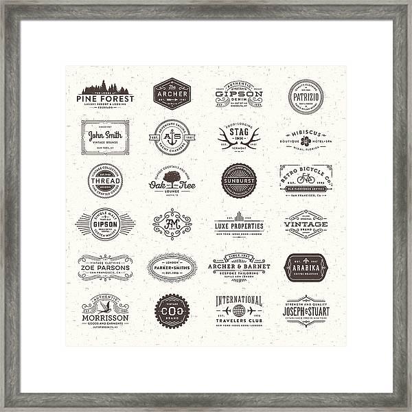 Badges, Labels And Frames Framed Print by Aleksandarvelasevic