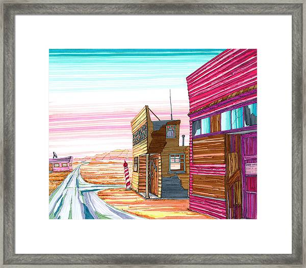 Framed Print featuring the drawing Badlands Barbershop by Scott Kirby